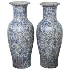 Paar Großer Italienischer Transferware Vasen