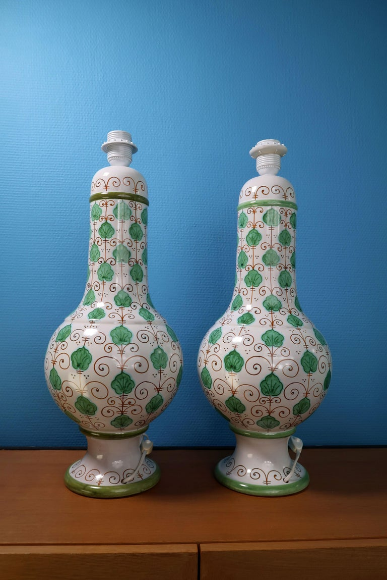 Mid-Century Modern Pair of Tall Italian Vintage Hand Painted White Green Table Lamps, 1960s For Sale