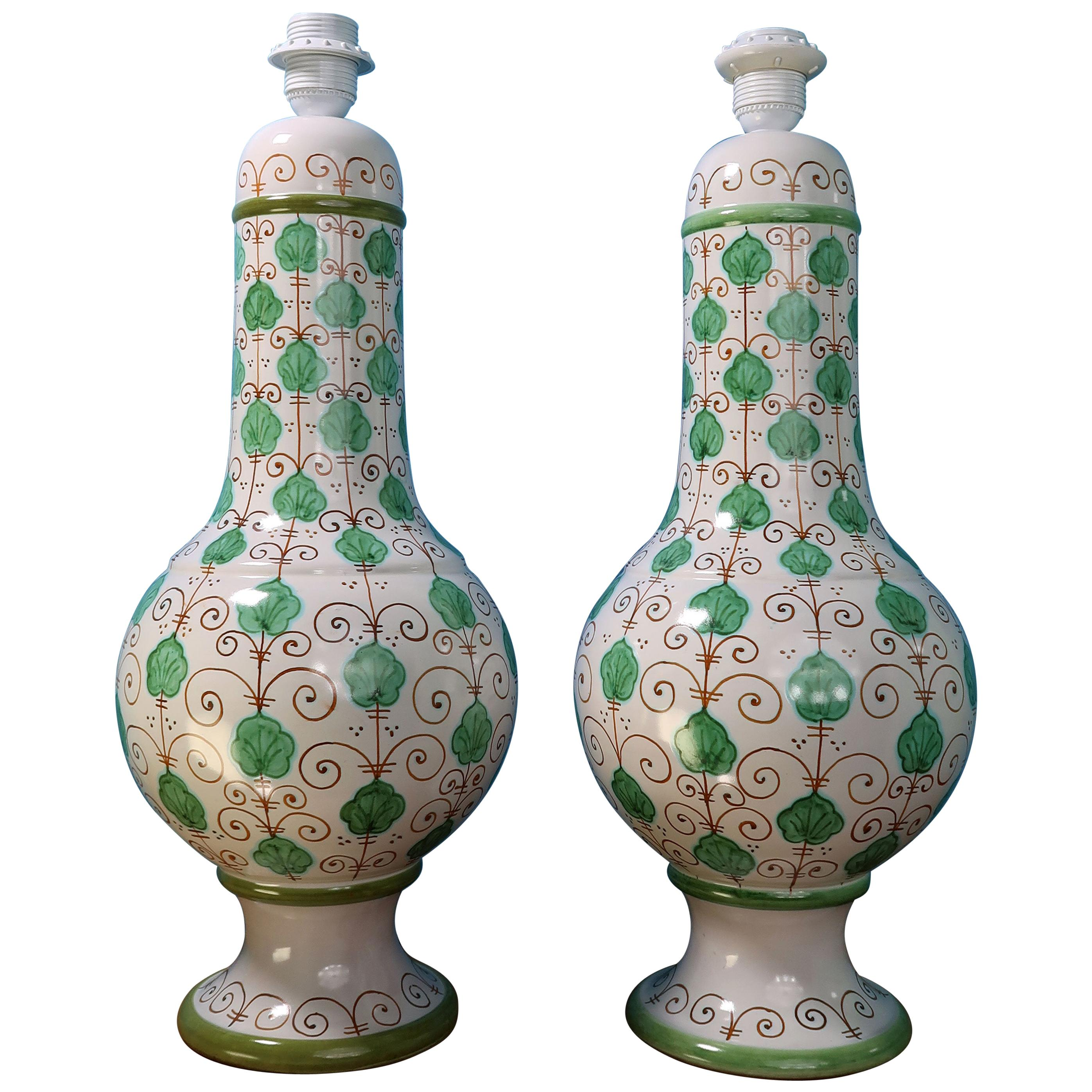 Pair of Tall Italian Vintage Hand Painted White Green Table Lamps, 1960s