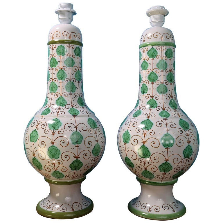 Pair of Tall Italian Vintage Hand Painted White Green Table Lamps, 1960s For Sale