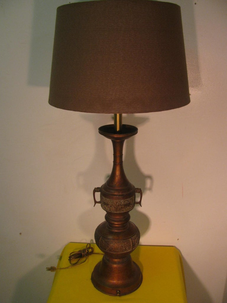 Anglo-Japanese Pair of Mid Century Tall Japanese Bronze Patinated Table Lamps For Sale