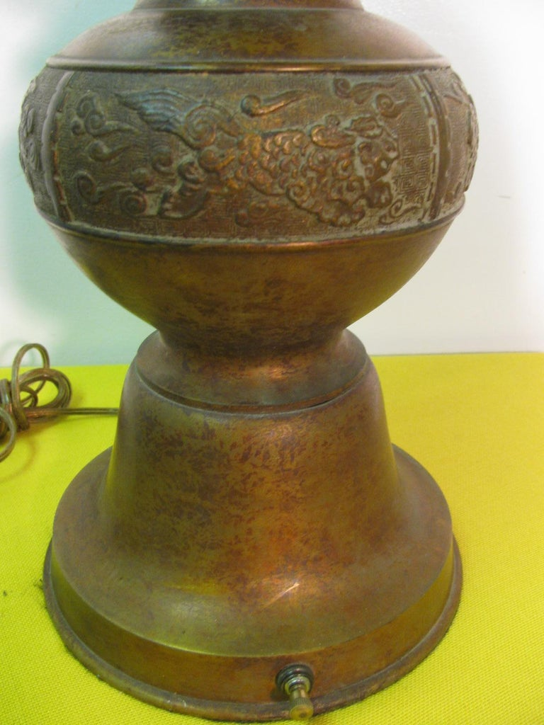 Pair of Mid Century Tall Japanese Bronze Patinated Table Lamps In Excellent Condition For Sale In Port Jervis, NY