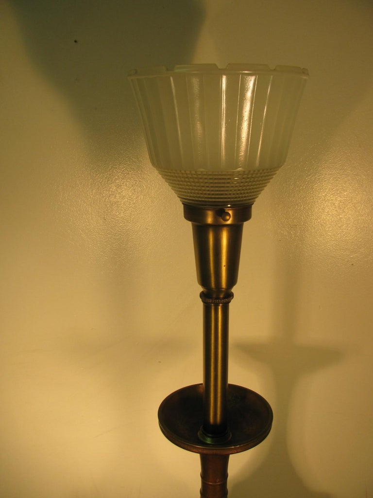 Pair of Mid Century Tall Japanese Bronze Patinated Table Lamps For Sale 2