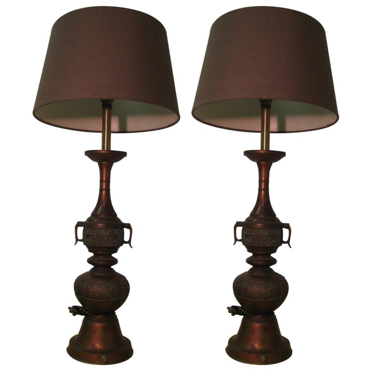 Pair of Mid Century Tall Japanese Bronze Patinated Table Lamps For Sale
