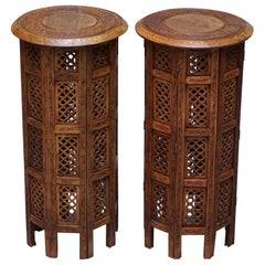 Pair of Tall Liberty's circa 1900 Syrian Hand Carved Hardwood Side End Tables