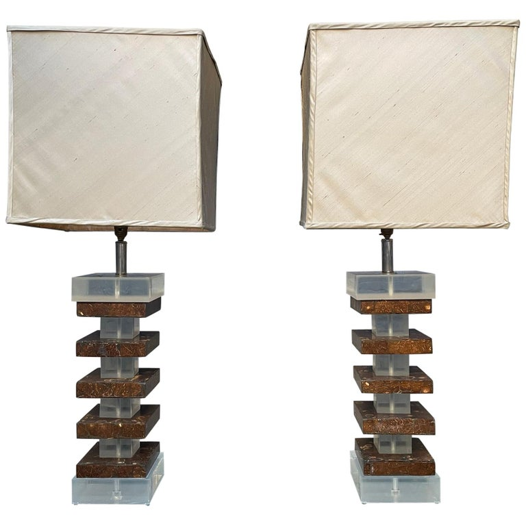 Pair of Tall Lucite and Faux Tortoise Shell Stacked Table Lamps For Sale