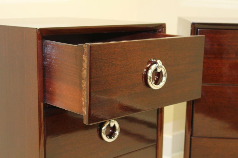 American Pair of Tall Machine-Age Art Deco Bachelor Chests with Chrome Hardware For Sale