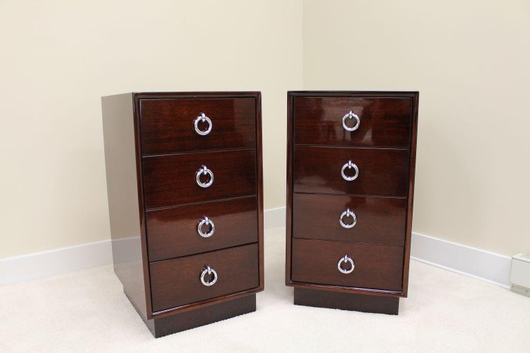 Pair of Tall Machine-Age Art Deco Bachelor Chests with Chrome Hardware For Sale 2