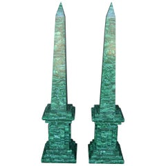 Pair of Tall Malachite Obelisks