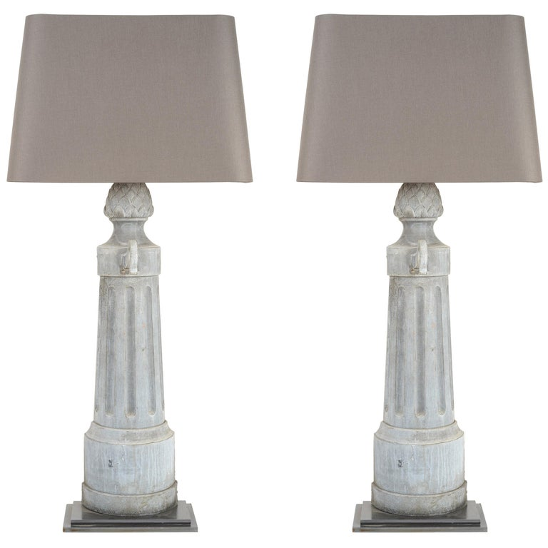 Pair of Tall Metal Lamps with Custom Shade For Sale