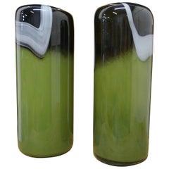 Pair of Tall Midcentury Glass Art Glass Vases