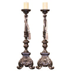 Pair of Tall Mid-Century Italian Carved Silver Leaf Candlesticks Prickets