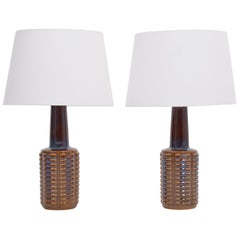 Pair of Tall Mid-Century Modern Ceramic Table Lamps by Einar Johansen for Soholm