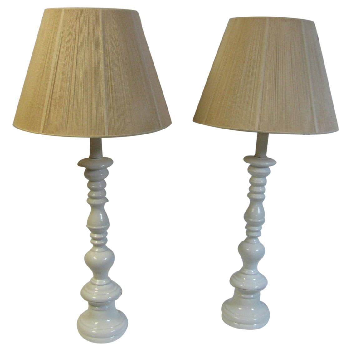 Pair of Tall Mid-Century Modern Classical Styled Porcelain Table Lamps