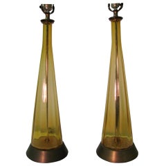 Pair of Tall Mid-Century Modern Italian Glass Table Lamps
