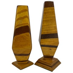 Pair of Tall Mid-Century Modern Wooden Candle Holders