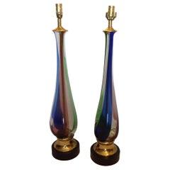 Pair of Tall Midcentury Murano Lamps