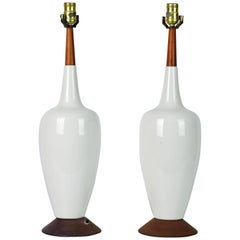Pair of Tall Midcentury Danish Modern Style Ceramic and Teak Table Lamps