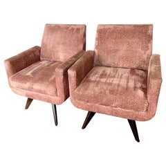 Pair of Tall Midcentury Style Swivel Chairs with New Salmon Velvet Upholstery