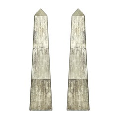 Pair of Tall Mirrored Obelisks with Etched Floral Design