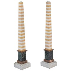 Pair of Tall Multicolored Striped Specimen Marble Obelisks, 19th Century