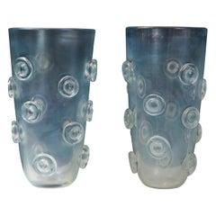 Pair of Tall Murano Blown Iridescent Vases