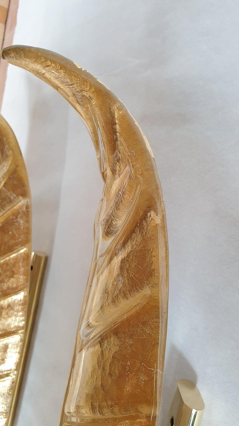 Two Large Mid-Century Modern Murano Glass Gold Leaf Sconces, Barovier Style 1970 For Sale 6