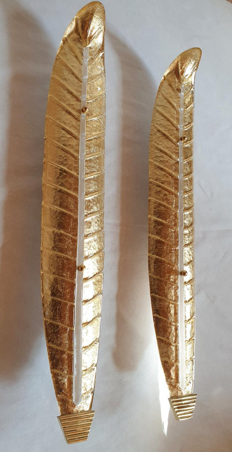 Italian Two Large Mid-Century Modern Murano Glass Gold Leaf Sconces, Barovier Style 1970 For Sale