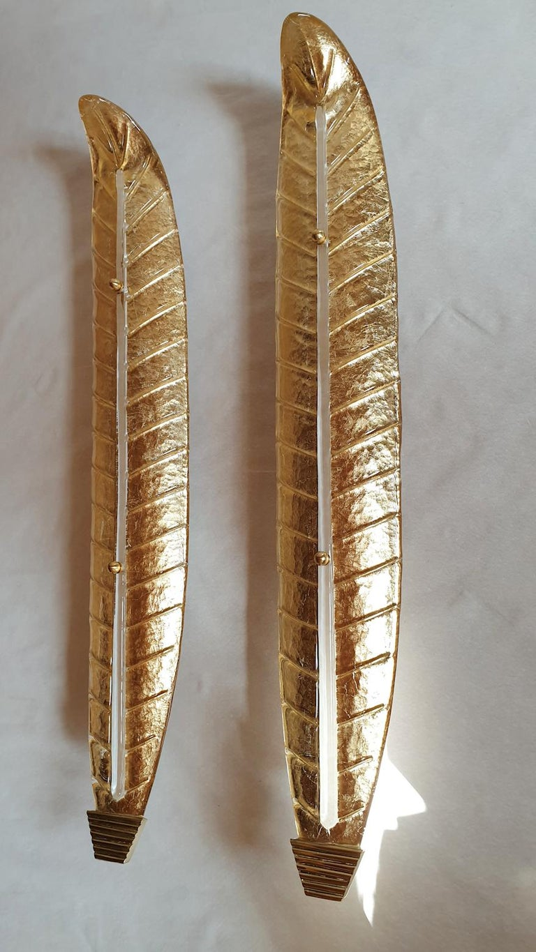 Two Large Mid-Century Modern Murano Glass Gold Leaf Sconces, Barovier Style 1970 In Excellent Condition For Sale In Dallas, TX
