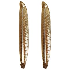 Pair of Tall Murano Gold Leaf Sconces, Mid-Century Modern, Barovier Style, 1970s
