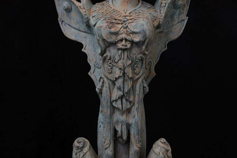 Pair of Tall Patinated Cast Iron Planters Showing Mythical Creatures / Chimeres For Sale 6