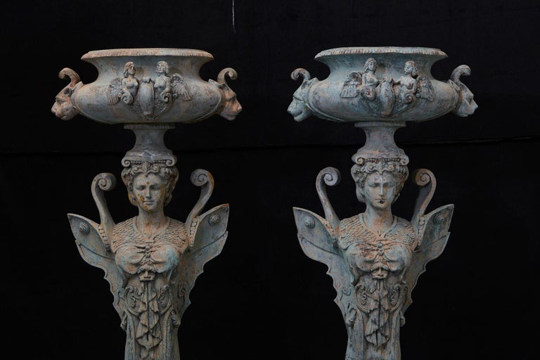 Pair of Tall Patinated Cast Iron Planters Showing Mythical Creatures / Chimeres For Sale 9