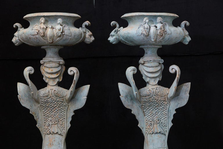 Pair of Tall Patinated Cast Iron Planters Showing Mythical Creatures / Chimeres For Sale 10