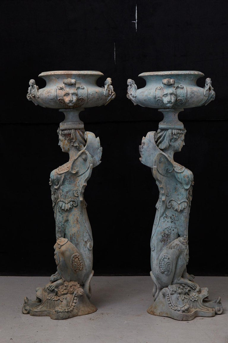 Pair of Tall Patinated Cast Iron Planters Showing Mythical Creatures / Chimeres In Good Condition For Sale In Weston, CT