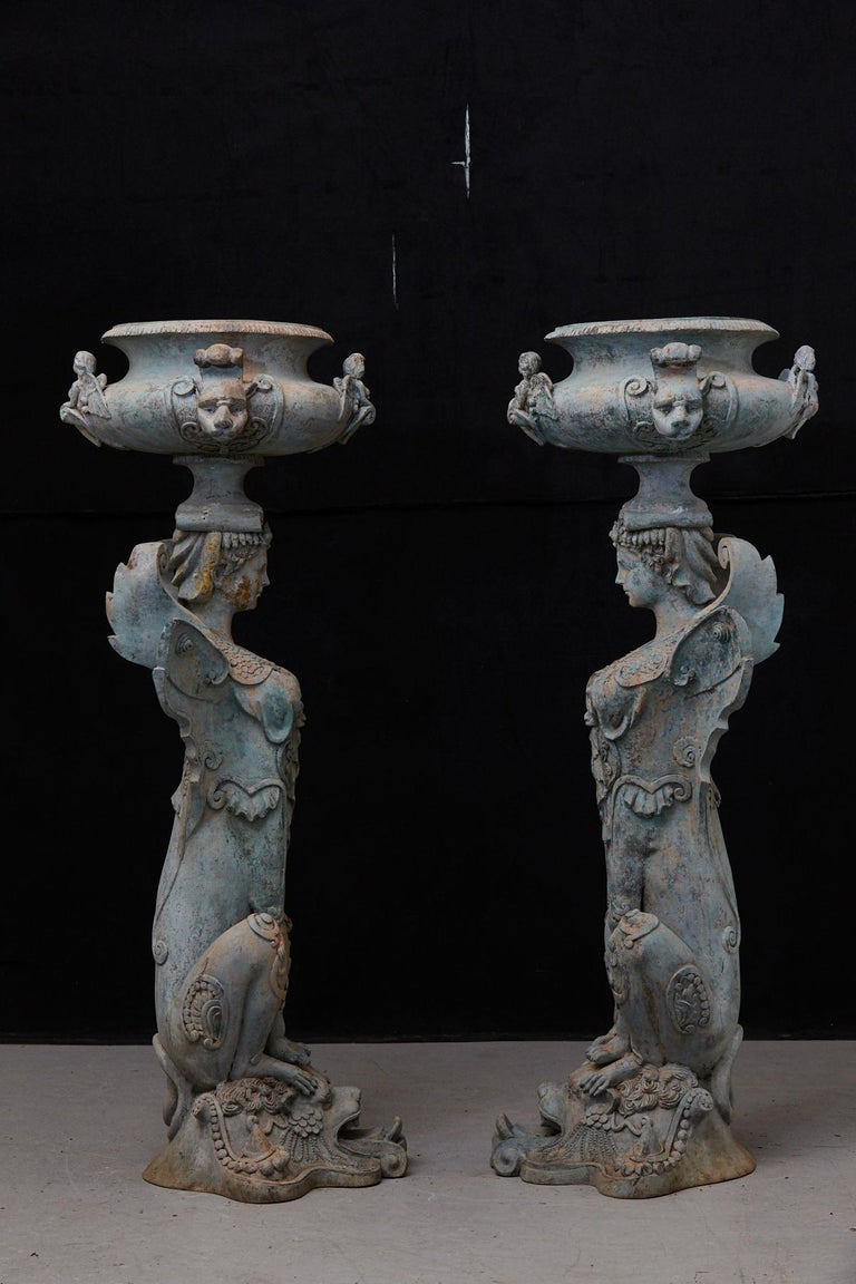 Pair of Tall Patinated Cast Iron Planters Showing Mythical Creatures / Chimeres For Sale 1