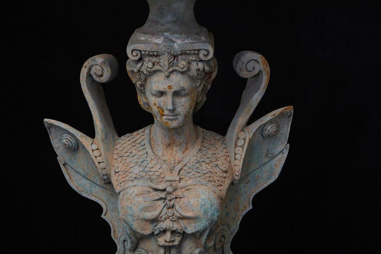 Pair of Tall Patinated Cast Iron Planters Showing Mythical Creatures / Chimeres For Sale 3