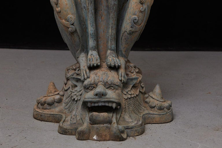 Pair of Tall Patinated Cast Iron Planters Showing Mythical Creatures / Chimeres For Sale 5