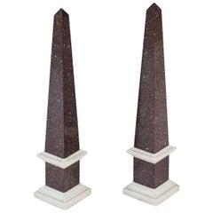 Pair of Tall Porphyry Veneered and Marble Obelisks
