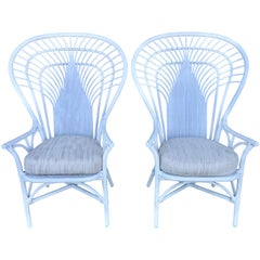 Pair of Tall Rattan Fan Back Armchairs