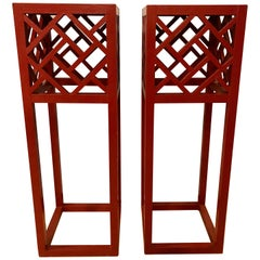 Pair of Tall Red Painted Asian Inspired Standing Pedestals