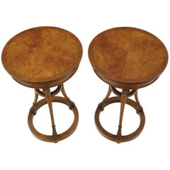 Pair of Tall Round Pedestal Shape Side End Tables on Tri Legged Bases Burl Wood