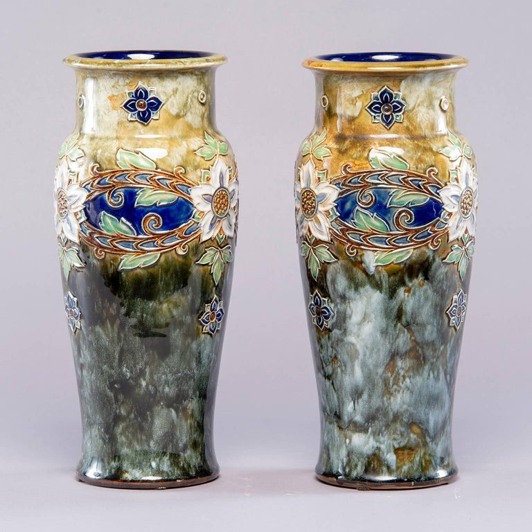 English Pair of Tall Royal Doulton Art Nouveau Lambeth Vases by Winnie Bowstead For Sale