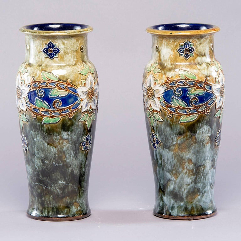 Glazed Pair of Tall Royal Doulton Art Nouveau Lambeth Vases by Winnie Bowstead For Sale