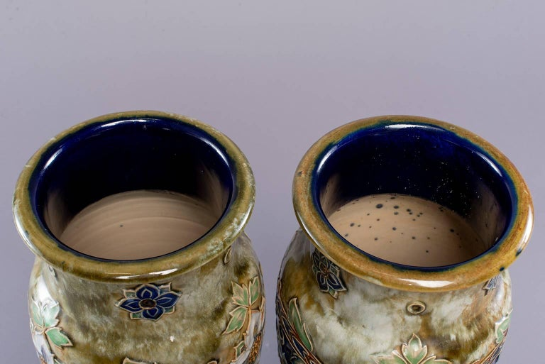 Pair of Tall Royal Doulton Art Nouveau Lambeth Vases by Winnie Bowstead In Excellent Condition For Sale In Troy, MI