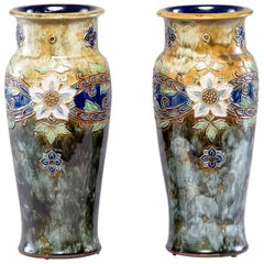 Pair of Tall Royal Doulton Art Nouveau Lambeth Vases by Winnie Bowstead