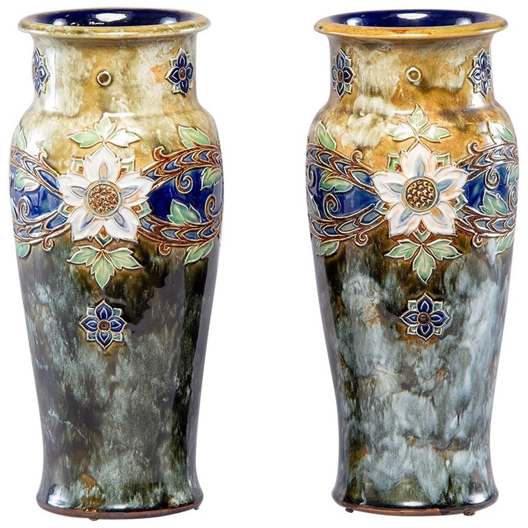 Pair of Tall Royal Doulton Art Nouveau Lambeth Vases by Winnie Bowstead For Sale