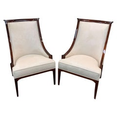 Pair of Tall Sculptural American Mid Century Modern Lounge Chairs in Walnut
