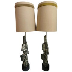 Pair of Tall Sculptural Bronze Brutalist Table Lamps, Laurel