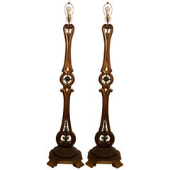 Pair of Tall Standing Venetian Style Floor Lamps
