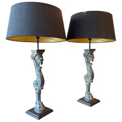 Pair of Tall Stone Monopedia Table Lamps